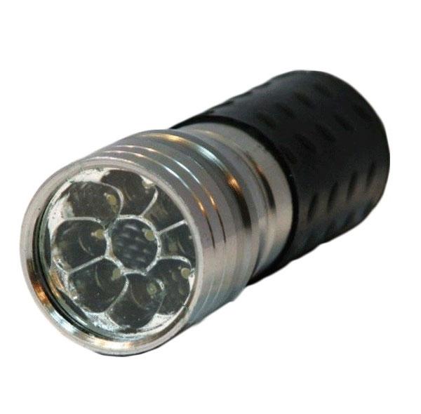 Фонарик светодиодный металлический,цвет серебристый, 9LED