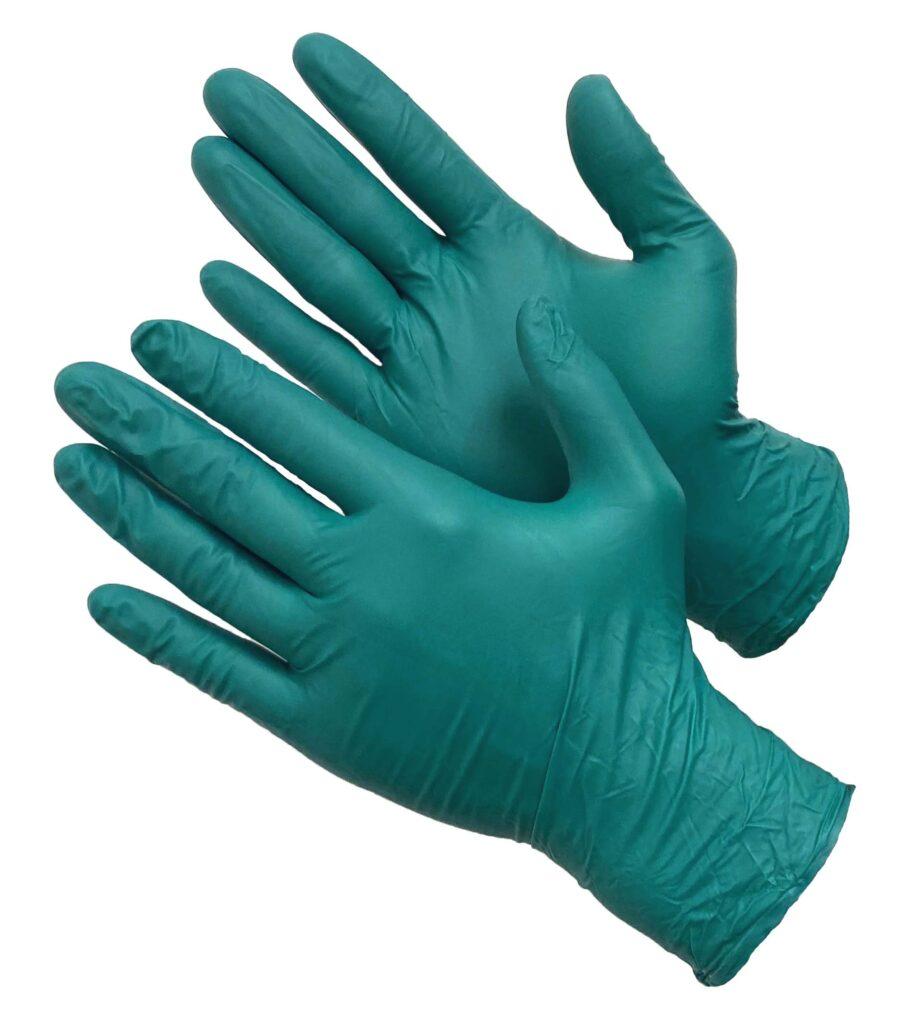 Перчатки зеленые нитриловые усиленные