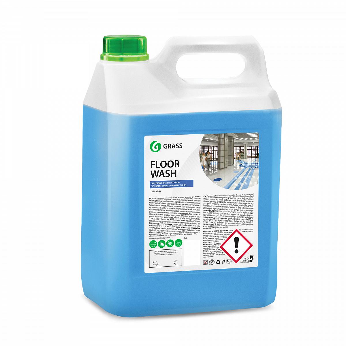 """Нейтральное средство для мытья пола """"Floor wash"""" (канистра 5,1 кг) 125195"""