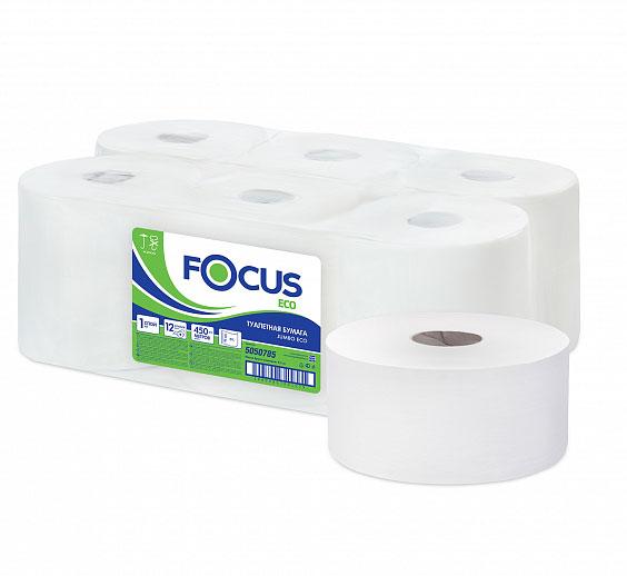 5050784 Туалетная бумага Focus Eco Jumbo 1сл, 200м (уп.12шт)