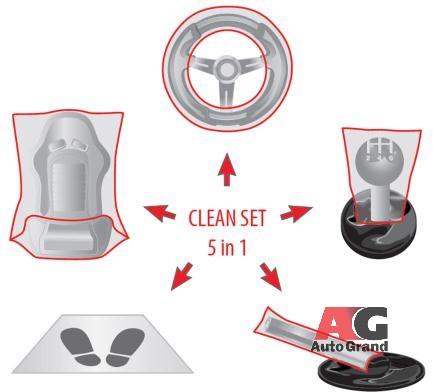 Комплект чехлов для защиты автомобиля 5 пр. Care kit (упак. 100 компл.)